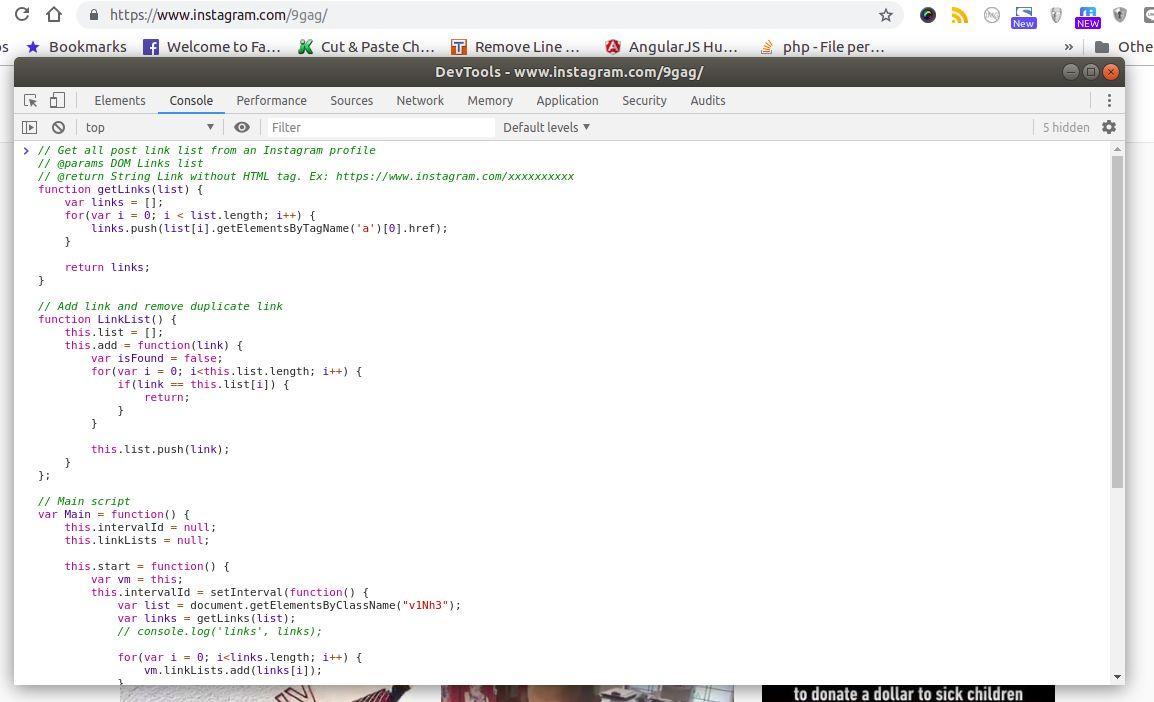 5. Tab Console, Paste Javascript